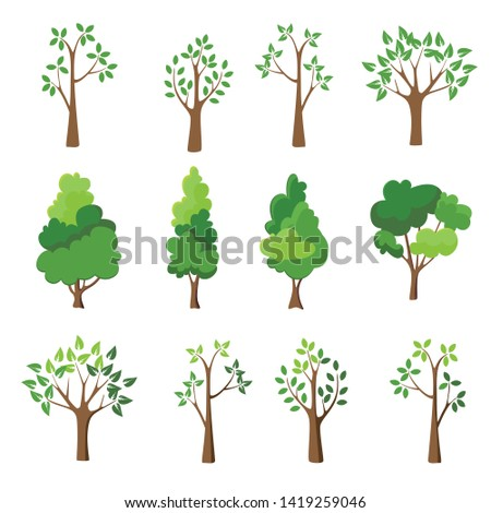 Collection of tress illustrations. Can be used to illustrate any nature lifestyle topic.
