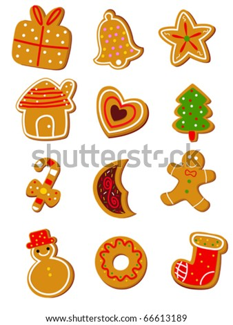 Collection of twelve Christmas cookies, isolated on white background. Eps file available.