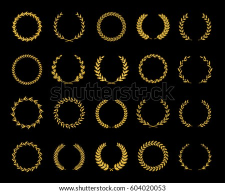 Collection of twenty gold circular laurel and oak wreaths for use as design elements in heraldry on an award certificate manuscript and to symbolise victory illustration in silhouette