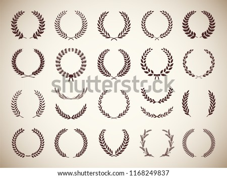Collection of twenty two circular vintage laurel wreaths. Can be used as design elements in heraldry on an award certificate, manuscript and to symbolise victory illustration in silhouette
