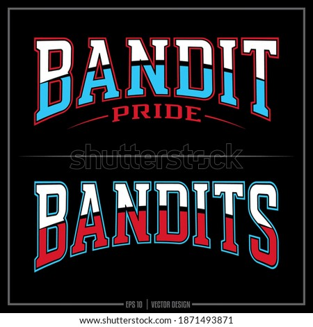 Collection of two Bandit insignias, Red, White, Blue, Bandit Pride, Sports Logo, Bandits Photo stock ©