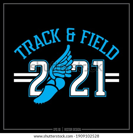 Collection of two white and blue Track and Field insignia, Track Team, Sports Design, Team Logo, Track, Runner Stockfoto ©