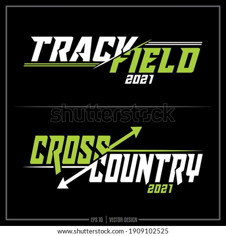 Collection of two white and green Track and Field insignias, Cross Country insignia, Track Team, Cross Country Team, Sports Design