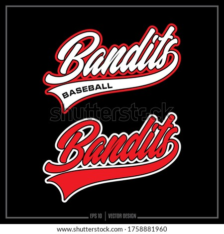 Collection of two white and red Baseball insignias, Bandits Mascot, Baseball logo, Sports Design Photo stock ©