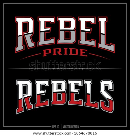 Collection of two white, red and gray Rebel insignias, Rebel Mascot, Sports Team, Pride Stock photo ©