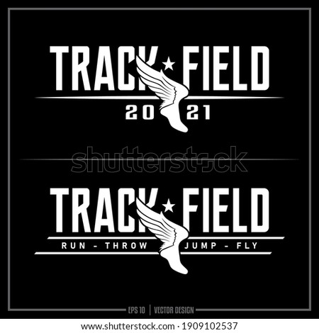 Collection of two white Track and Field insignias, Track Team, Sports Design, Team logo, Track Stockfoto ©