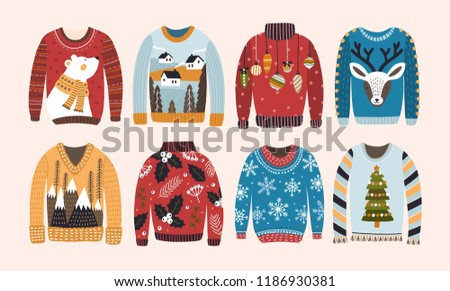 62fe3c705203 ... clothes. Doodle illustration. Winter · Collection of ugly Christmas  sweaters or jumpers isolated on light background. Bundle of knitted woolen