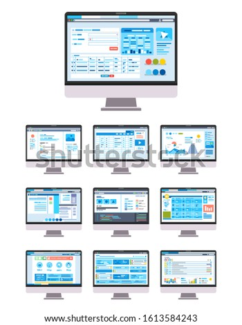 collection of UI UX GUI Graphic User Interface and User Interface Desktop vector illustration. used for landing page image, infographic and others.