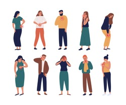 Collection of unhappy people suffering pain or ache in different body parts - chest, neck, leg, back, arm. Set of ill people isolated on white background. Flat cartoon colorful vector illustration.
