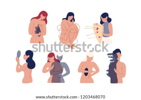Collection of unhappy young men and women with mental disorders, psychiatric impairments, emotional problems isolated on white background. Colorful vector illustration in flat cartoon style.