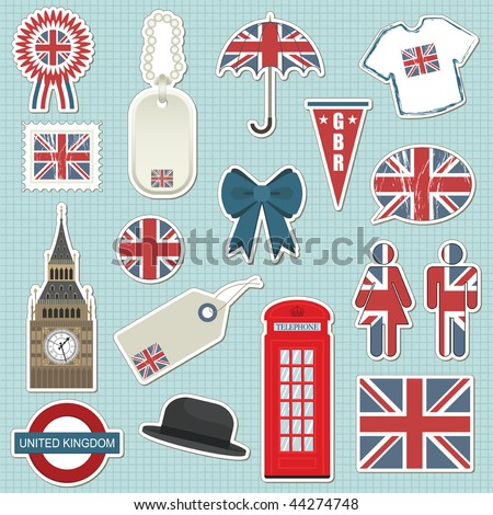 collection of united kingdom themed stickers with union jack