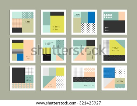 Collection of universal cards. Templates with trendy geometric patterns and colors. Gradients free. Isolated