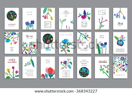 Collection of unusual cards with paper cut flowers. Beautiful freehand colorful illustration. Design for poster, card, invitation, placard, brochure, flyer. Isolated