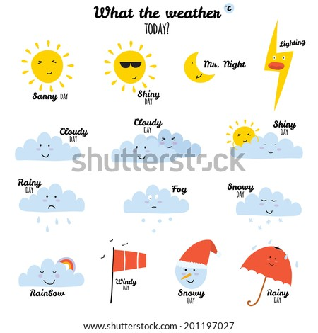 Collection of unusual cartoon and funny smiley weather icons. Vector illustration in cute style. Sunny, cloudy, rainy, snowy, windy, shiny, snowman, bubbles, umbrella.