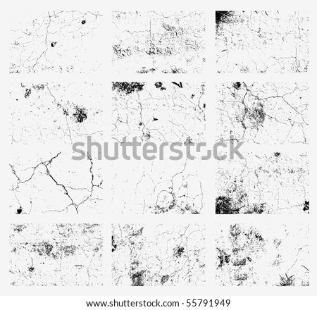 Collection of urban grunge textures. Dirty and distressed paint on old wall. Crackle line and  scratch on concrete and stone surface. Abstract vector background in black and white color.
