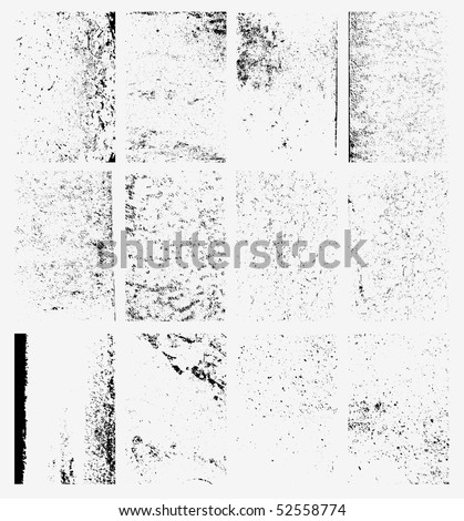 Collection of urban grungy textures. Dirty and distressed paint on old wall. Crackle line and scratch on concrete and stone surface. Abstract vector background in black and white color.