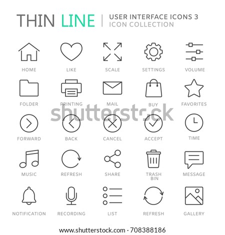 Collection of user interface thin line icons