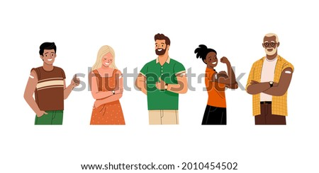 Collection of vaccinated people. Vector illustration of diverse cartoon smiling men and women with with a plasters on the shoulder. Isolated on white