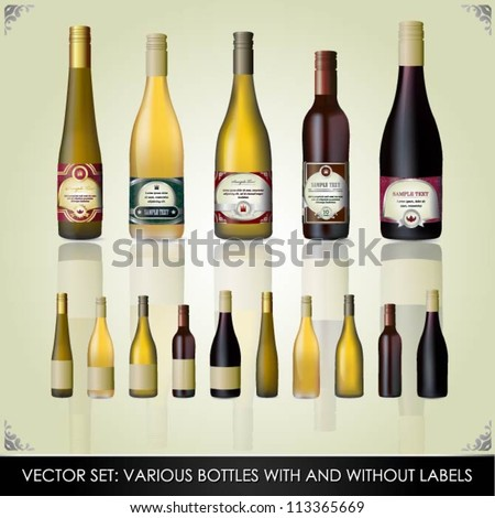 Collection of various bottles with and without labels