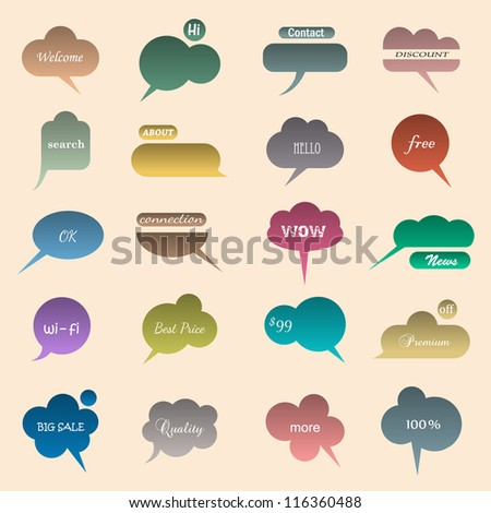 Collection of various bubbles for speech. Vector illustration