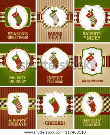 Collection of various Christmas greeting cards with stockings - stock vector