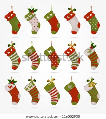 Collection of various Christmas stockings