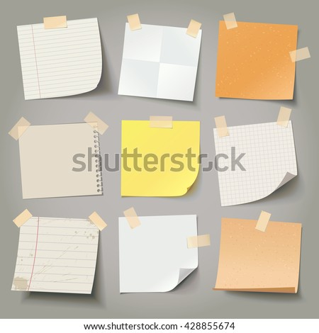 Collection of various crumpled note papers with curled corner and adhesive tape, ready for your message. Vector illustration. Isolated background. Front view. Top view. Close up.