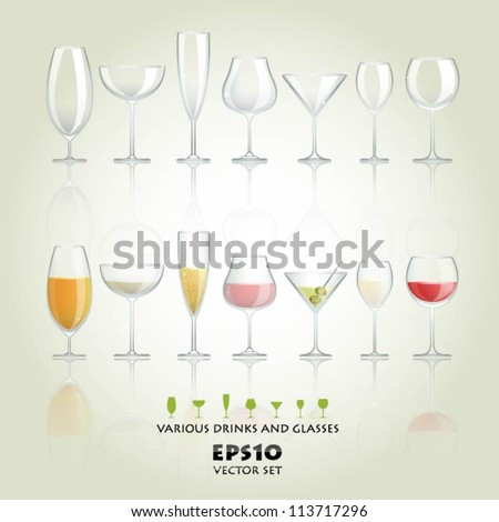 Collection of various drinks and glasses