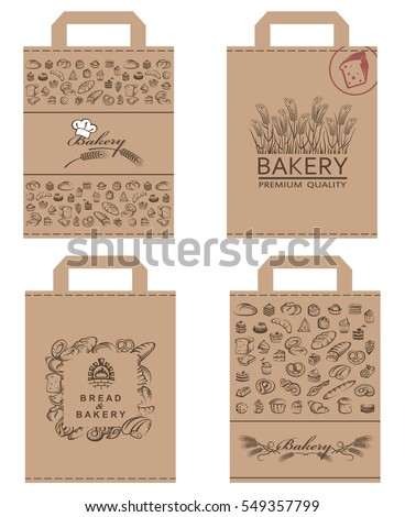 Collection of various food packages with bread and bakery products. Vector illustration