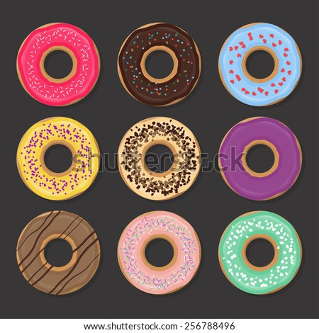 Collection of various glazed donuts with different fillings. Vector illustration for design menus and posters