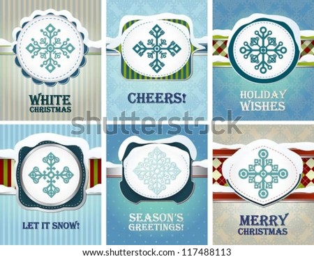 Collection of various greeting cards with snowflakes