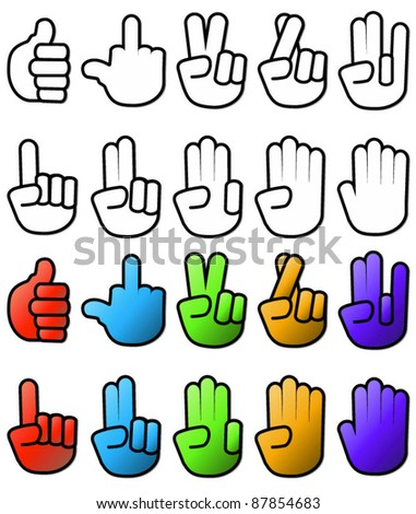 Collection of various hand signs and signals