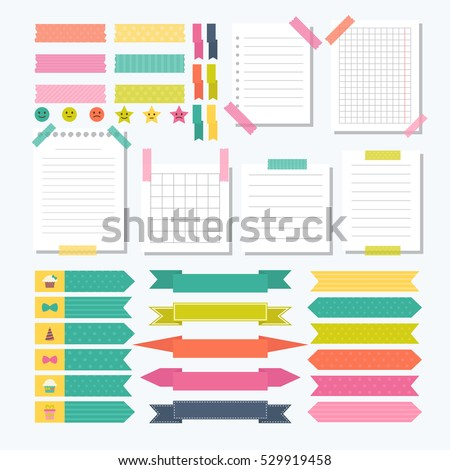 Collection of various note papers with different tape strips. Cute design elements. Template for notebooks.  Vector illustration