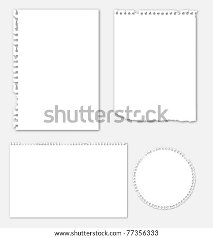 Collection of various ripped note paper
