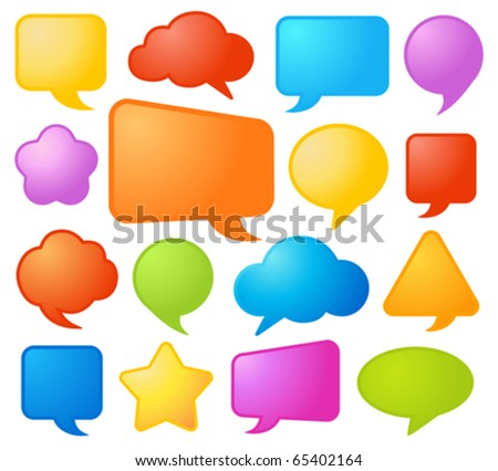 Collection of various shapes and colors comic speech bubbles in vector format