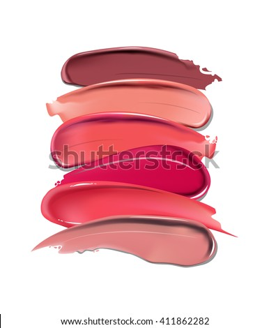 Collection of various Smears lipstick on white background. Beauty and cosmetics background. Use for advertising flyer, banner, leaflet. Template Vector.