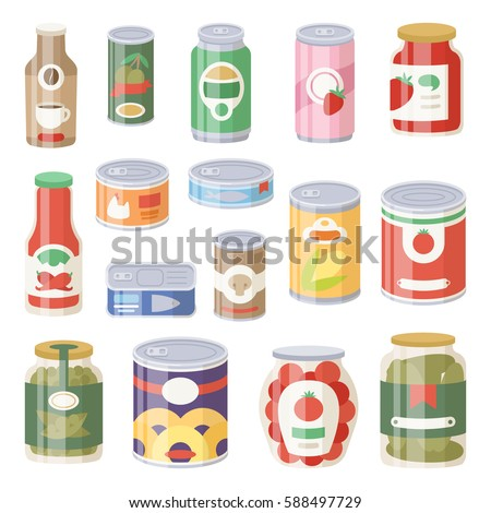 Collection of various tins canned goods food metal container grocery store and product storage aluminum flat label canned conserve vector illustration.