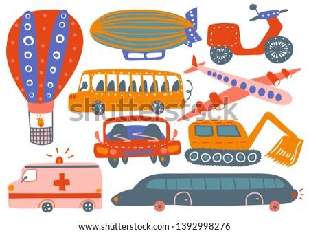 Collection of Various Transport Vehicles, Hot Air Balloon, Airship, Plane, Ambulance Car, Excavator, Bus, Motorbike Cartoon Vector Illustration