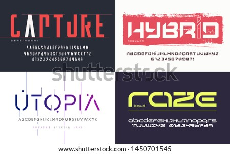 Collection of various trendy vector fonts, typefaces, alphabets.
