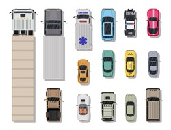 Collection of various vehicles. Roadster, taxi, police SUV, ambulance, sedan, truck. Car for transportation, cargo and emergency services. Top view. Vector illustration in flat style