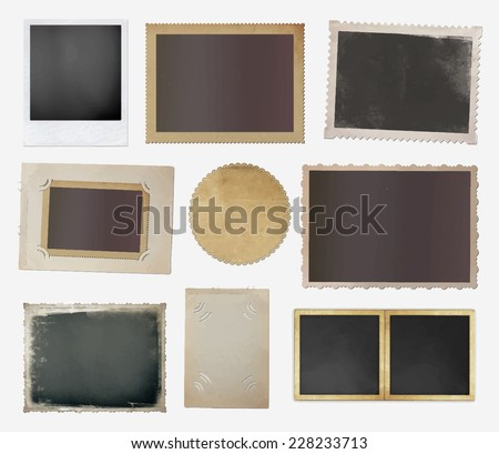 collection of various vintage photos on white background