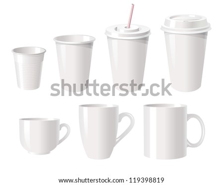 Collection of various white coffee cups isolated on white background, vector illustration