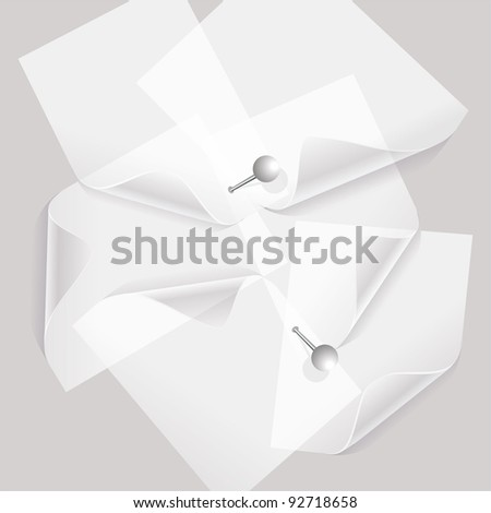 collection of various white note papers or transparent stickers with pins
