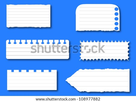 Collection of various white note papers, ready for your message. Vector illustration.