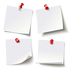 Collection of various white note papers with curled corner, pinned red pushbutton, ready for your message. Vector illustration. Isolated on white background. Front view. Top view. Close up.