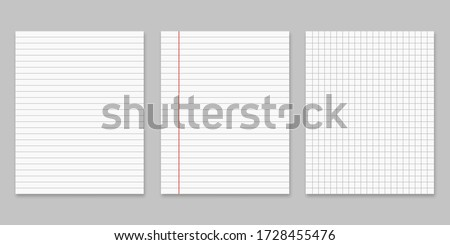 Collection of various white papers for your text. Blank pages of a notebook with margins isolated on gray background. Realistic square vector illustration. stock photo