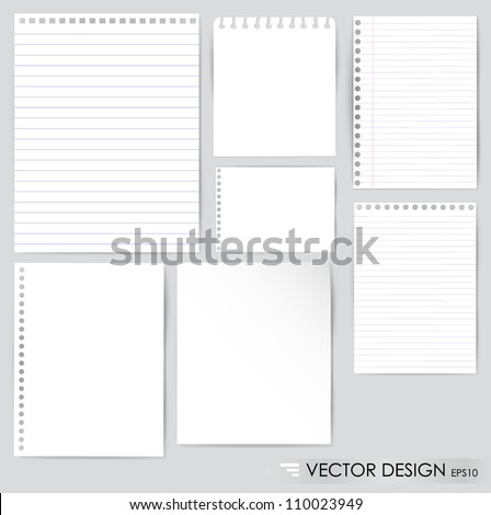 Collection of various white papers, ready for your message. Vector illustration. - stock vector