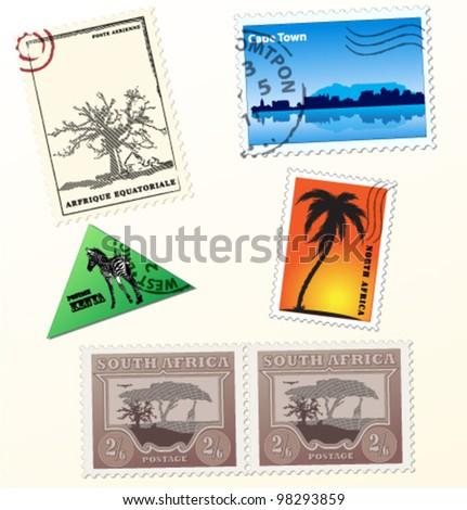 Collection of vector african post stamps - stock vector