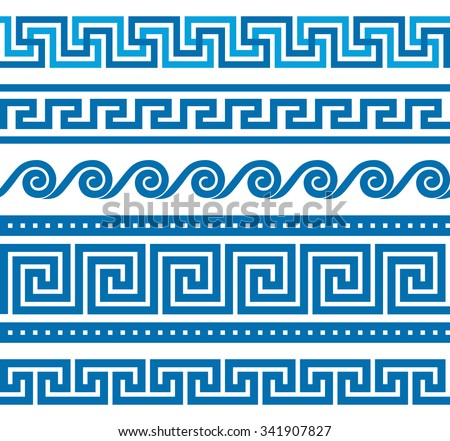 Collection of vector antique greek border ornaments