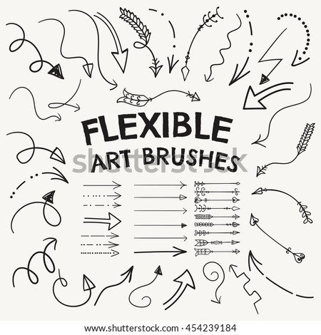 Collection of Vector Arrow Shaped Flexible Art Brushes. Set of  Hand Drawn Pointers. You can easily create the right shape or style of arrow, reshape and resize it.